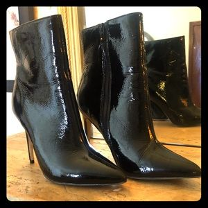Black Patent Leather High Heeled Boots